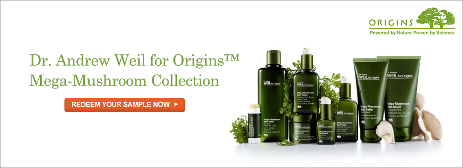 Origins, Mega-Mushroom, Dr Andrew Weil, Redeem, Sample, Collection